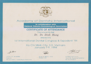 dentisty certificate drhung